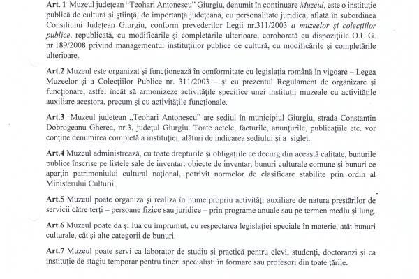 """Regulament de organizare si functionare al Muzeului Judetean """"Teohari Antonescu"""" Giurgiu"""