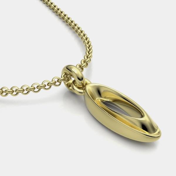 Colgante en oro y joya artesanal en oro del compositor chopin sobre la obra nocturno.