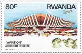 Postage stamp. aeroport de kigali 1986. Rwanda