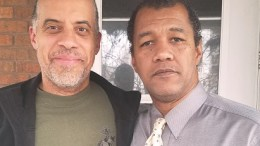 Larry Sharpe and Michael Vass outside the NO Soundbites Allowed studio in Binghamton NY