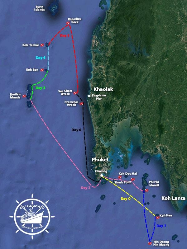MV Giamani Thailand Liveaboard Itinerary Map