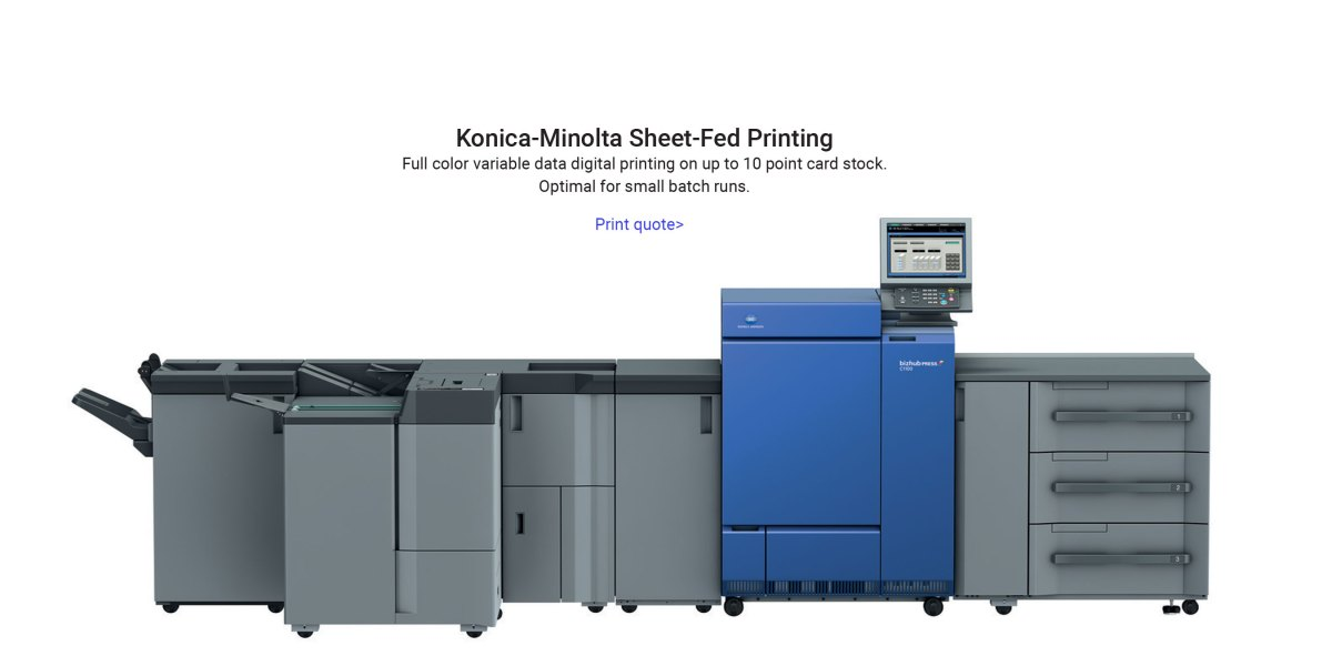 Konica Minolta cut sheet digital printing press for direct mail advertising