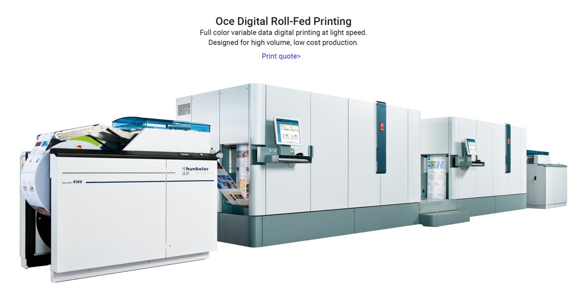 Oce roll-fed digital printing press for direct mail advertising in Orange County, CA