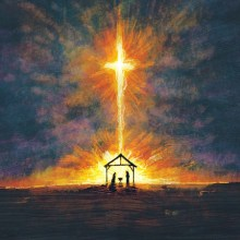 a-child-is-born-christmas-cross-background
