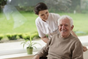 A man in a nursing home benefits from long-term care insurance