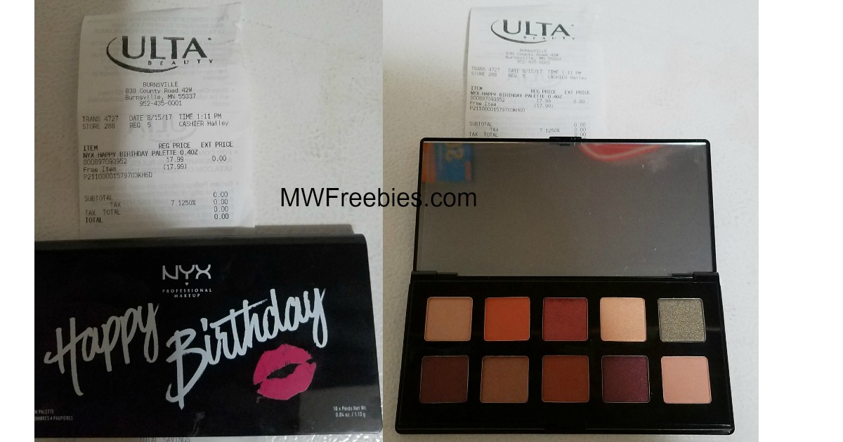 FREE NYX Birthday Palette from Ulta for September Birthdays!