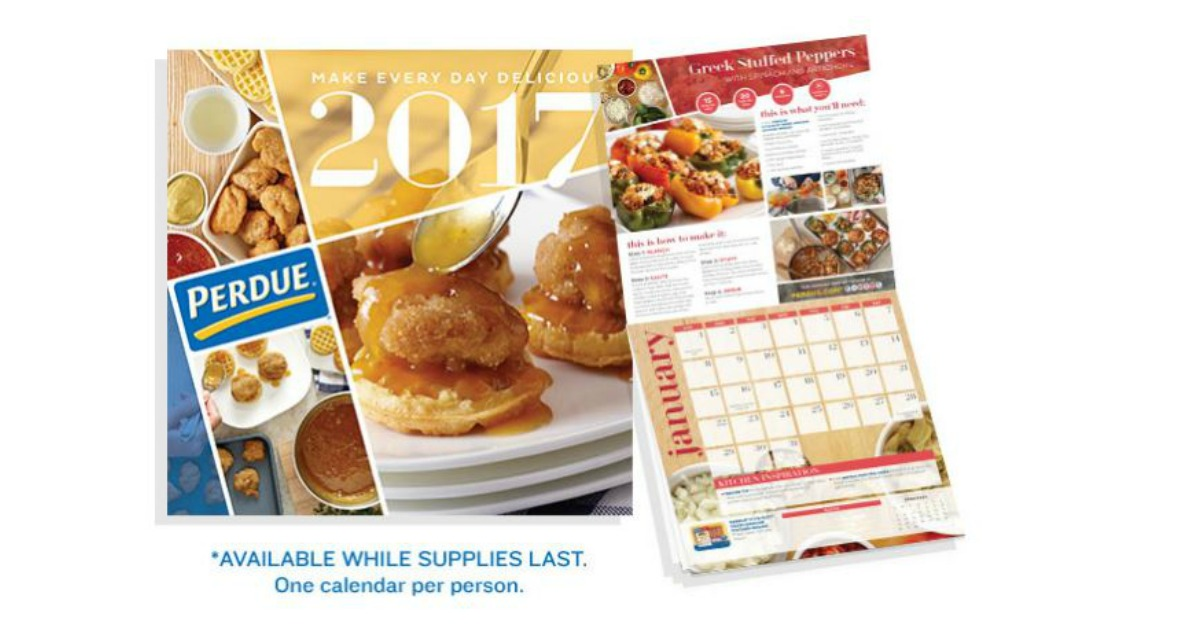 EXPIRED-FREE 2017 Wall Calendar With Recipes From Perdue! - MWFreebies