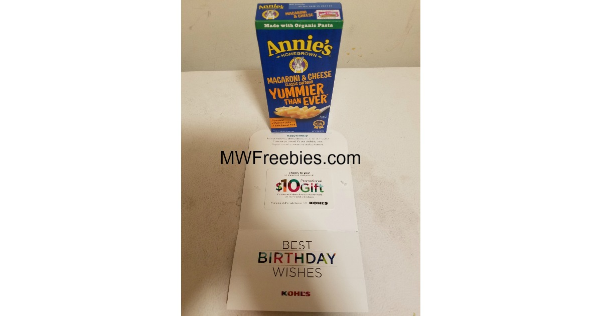I Received Annies Mac Cheese A Kohls 10 Gift Card FREE In The Mail Today What Did You Get