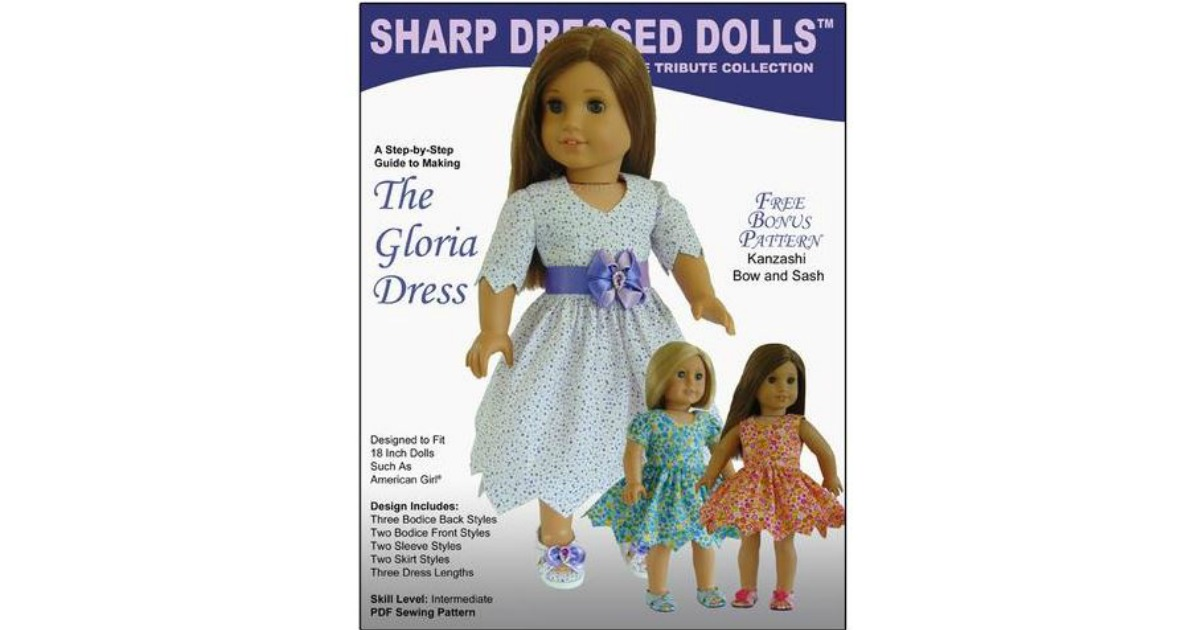 Free Gloria Dress For 18 Doll Clothes Pattern Today Only 1130