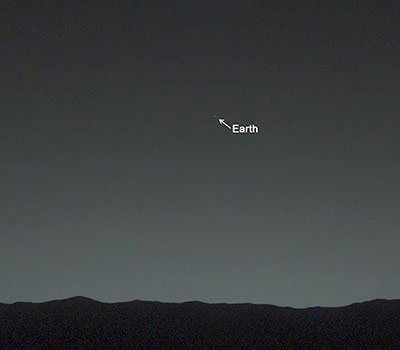 Earth, as seen from Mars. Taken by Curiosity.