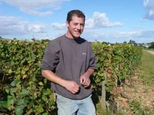 Arnaud Mortet in his vineyard