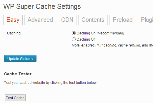 wp super cache enable cache - مجلة ووردبريس