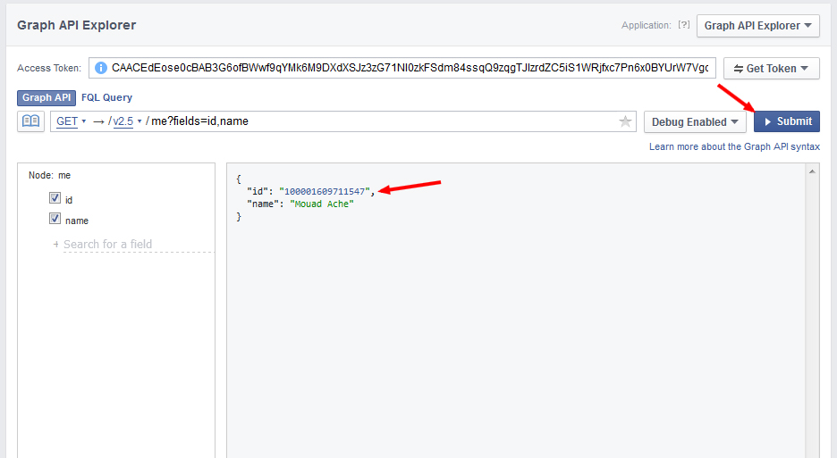 Graph API Explorer facebook userid - مجلة ووردبريس