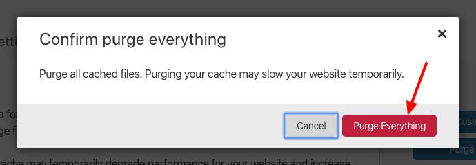 تفريغ التخزين المؤقت للكلود فلاير (cloudflare) الخطوة الثانية