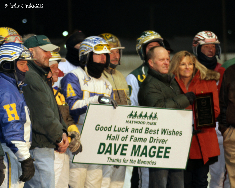 Magee honored by the driving colony at Maywood Park Friday night.