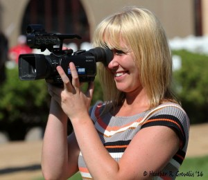 Michelle Benson capturing the smooth moves around Canterbury Park for the video.