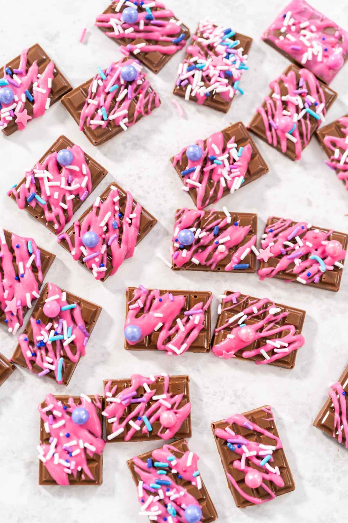 Mini chocolates with sprinkles