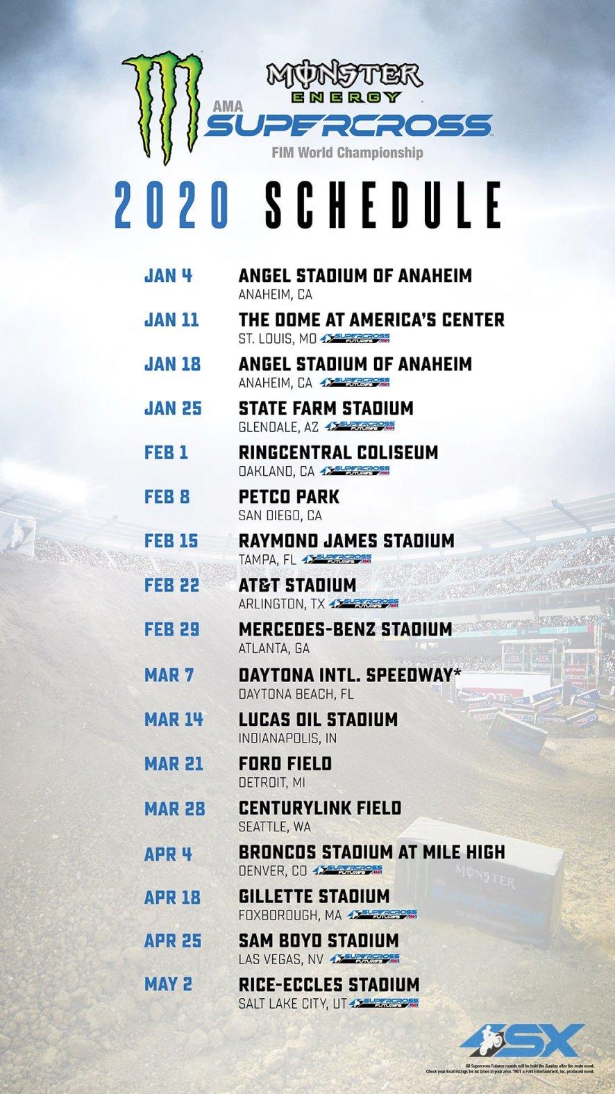 Mxgp Calendario 2020.2020 Ama Supercross Schedule Announced No Finale A Las