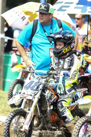 Sitting on the gate for the first moto, photo by Jacque Shortino