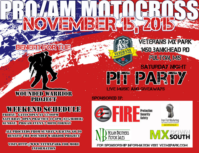 Benefit for the Wounded Warrior Project, AMA Pro/AM and State Championship at Vet MX Park!!!