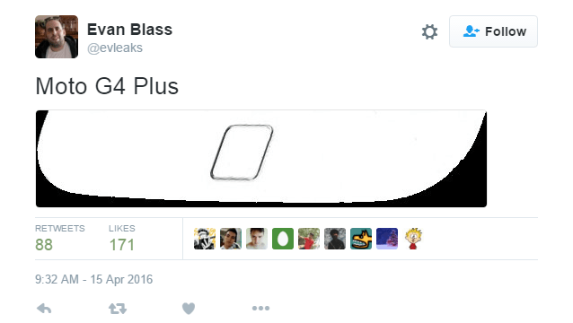 evleaks เผย Moto G4 Plus มีปุ่ม Home ติดสแกนลายนิ้วมือ