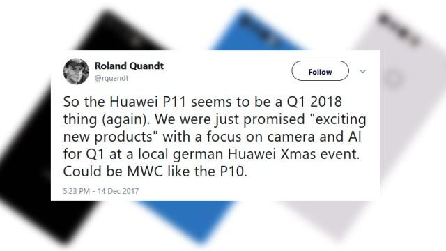 คาด Huawei P11 จะเปิดตัวงาน MWC 2018 พร้อมวางขายไม่เกินไตรมาสแรก