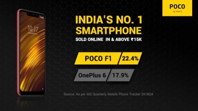 Pocophone F1 ครองแชมป์ขายดีในตลาดอินเดียประจำ Q4 ปี 2018