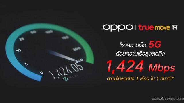 OPPO และ TrueMove H โชว์ความเร็ว 5G ด้วยความเร็วสูงสุดถึง 1,424 Mbps