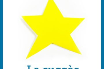 une étoile jaune à 5 branches découpée dans du papier de couleur posée sur un fond blanc au dessus de l'inscription Le succès symbole fort d'après confinement