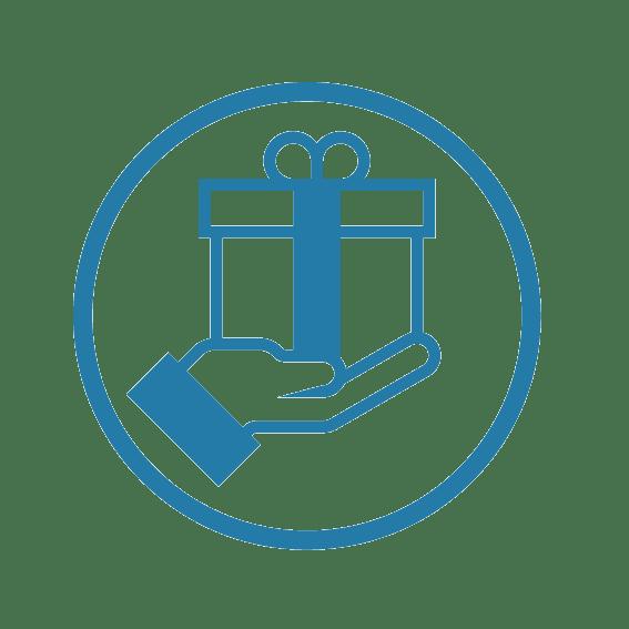 Idée team building artistique : pictogramme dessin simplifié d'une main qui tend un cadeau pour évoquer le souvenir offert par une expérience ou un team building Original