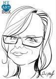Caricature d'après photo noir et blanc d'une femme blonde avec lunettes