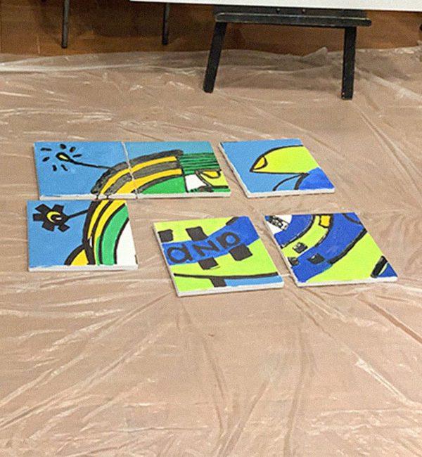 Début de la fresque puzzle peinture