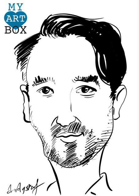 Caricature d'après photo d'un homme avec collier de barbe brune et une mèche de cheveux sur le coté