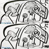 Dessin noir et blanc sur fresque plexi de l'artiste aNa pour Idée Trophée Original ou cadeau anniversaire