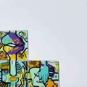 des plaques de plexi colorées pré dessinée par l'artiste aNa pour programme animation télétravail confinement