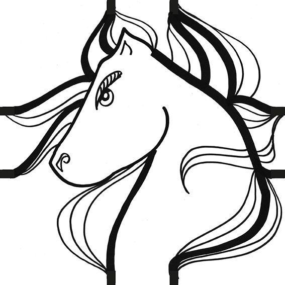 gros plan sur une tête de cheval dessinée par l'artiste aNa à la ligne noire pour création d'un sticker modèle cheval pour my art box