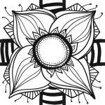 dessin d'une fleur géante noire et blanche qui tient dans un format carré pour puzzle my art box