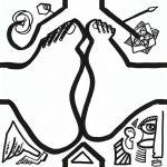 dessin de pieds joints en noir et blanc imaginé par l'artiste aNa pour création de puzzle DIY