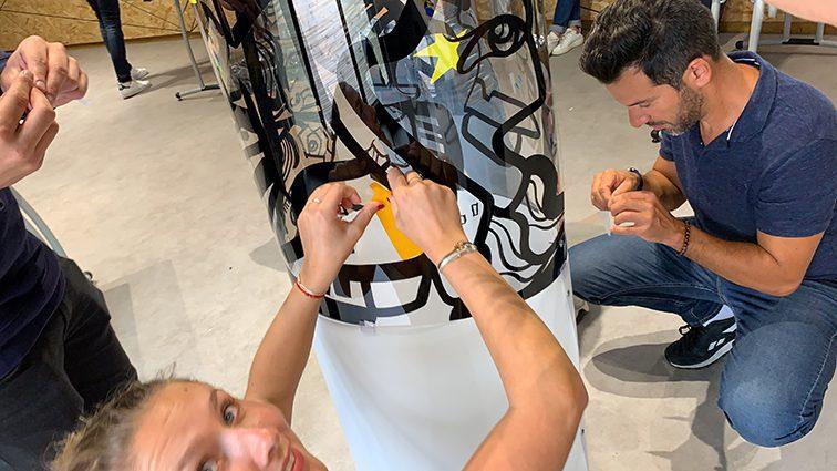 Fresque Plexi Totem Box modèle Lyon par My art Box et aNa artiste
