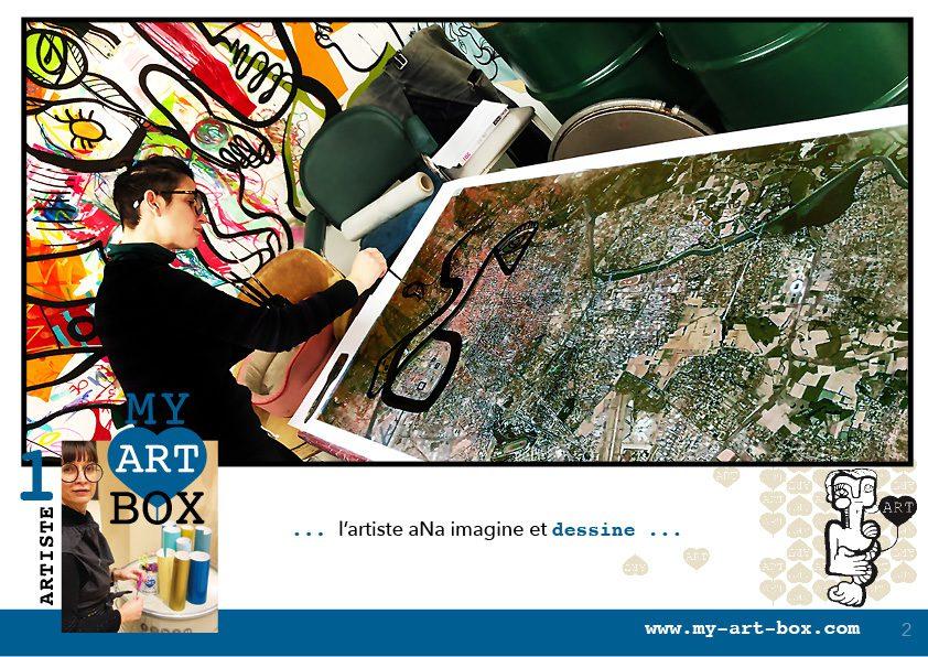 Street artiste Lyon aNa artiste dans son atelier de Couzon au Mont d'Or prépare une Totem Box afin d'organiser un team building pour démontrer Les bienfaits de l'activité créative sur la productivité au travail.
