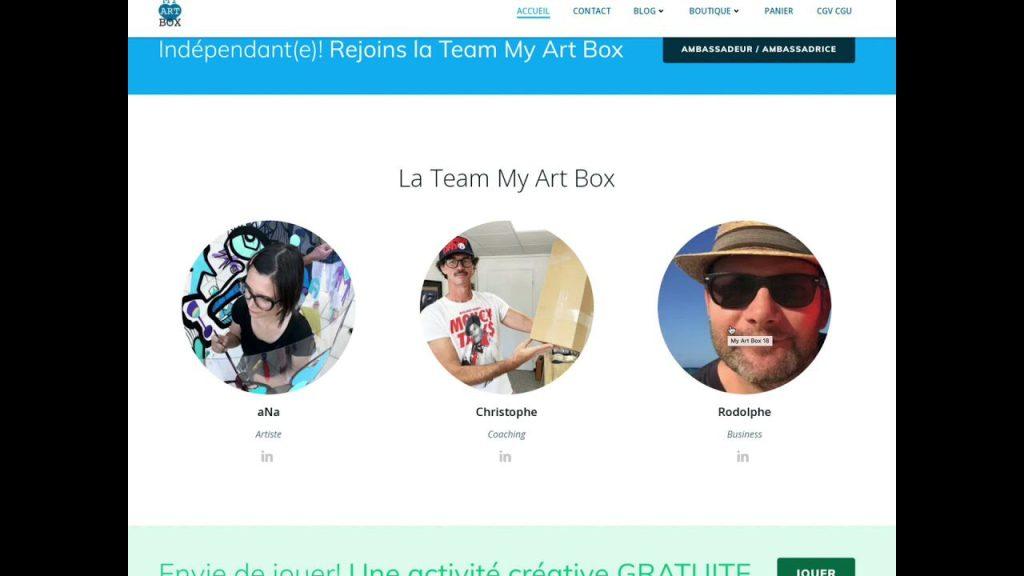 l'équipe soudée qui proposent des services et produits my artbox pour fresque, tableau diy, œuvres collectives, team building art, animation artistique…
