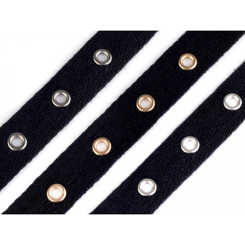 galon coton 20mm avec petits oeillets noir et argent noir et or bande de lacage bande pour corset bustier lacage style