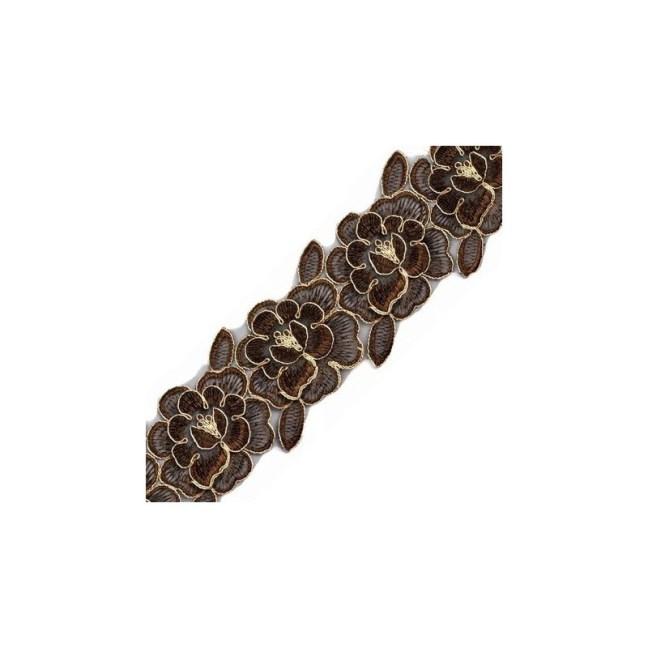 Ruban d'organza fleurs brun et or 85 mm