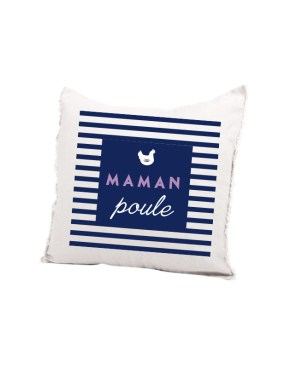 Coussin maman poule rayee