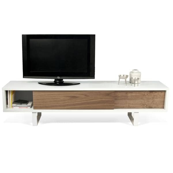 slide meuble tv ou buffet bas un pied metal tout en legerete portes coulissantes pour un espace moderne designer nuno henriques