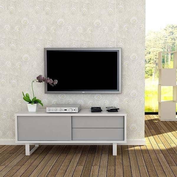 nilo meuble tv ou buffet bas pieds metal porte coulissante tiroirs rien ne manque