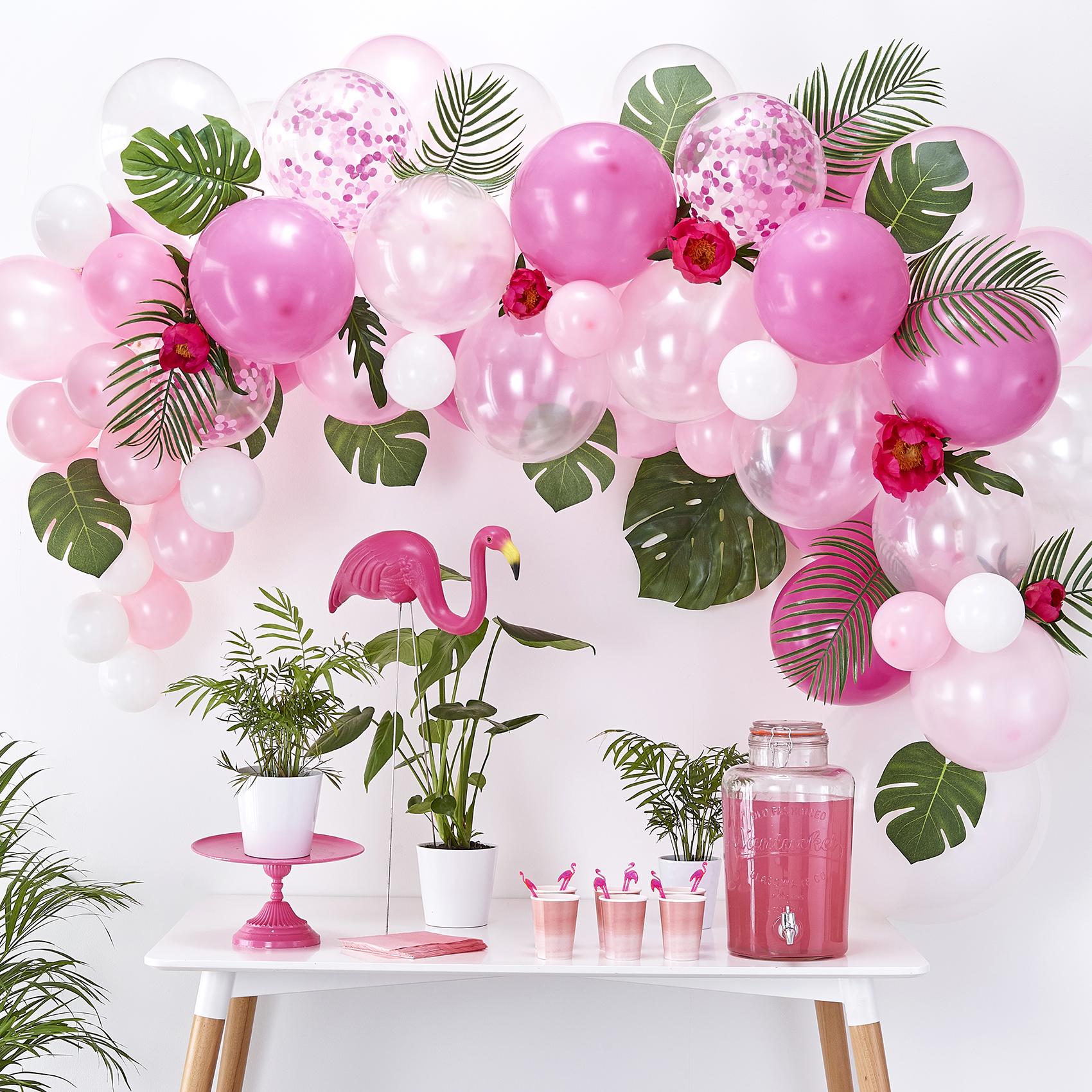 ballongirlande pink rosa weiss 70 tlg