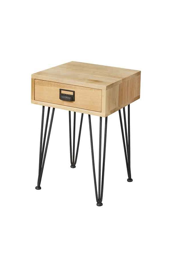 table d appoint industrielle felix en chene massif et acier