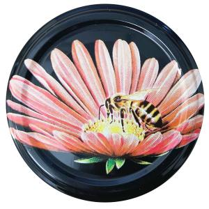 Deksel zwart met bij op bloem - toc 63 mm