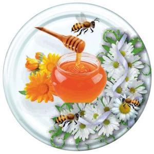 Deksel Wit honingpot met bij - toc 82 mm